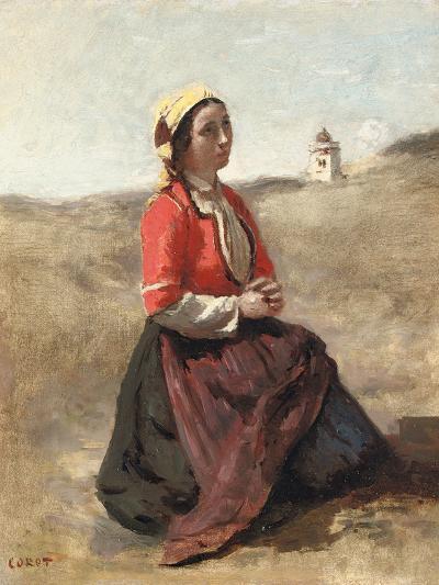 The Breton in Prayer-Jean-Baptiste-Camille Corot-Giclee Print