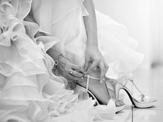The Bride is Putting on Her Shoes for the Wedding Day-szefei-Photographic Print
