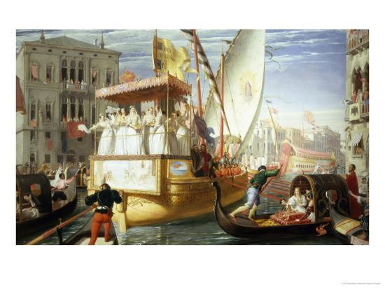 The Brides of Venice Being Taken to the Wedding, c.1528-John Rogers Herbert-Giclee Print