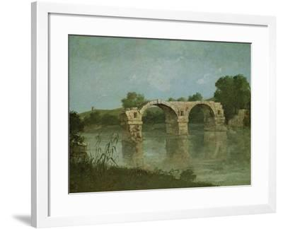The Bridge at Ambrussum-Gustave Courbet-Framed Giclee Print