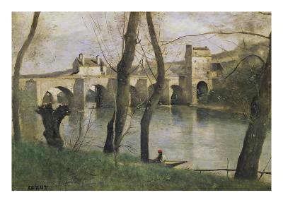 The Bridge at Mantes-Jean-Baptiste-Camille Corot-Giclee Print