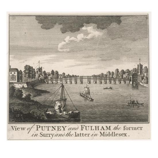 The Bridge Linking Fulham in Middlesex with Putney in Surrey--Giclee Print