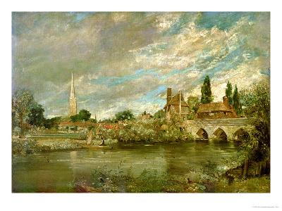 The Bridge of Harnham and Salisbury Cathedral, c.1820-John Constable-Giclee Print