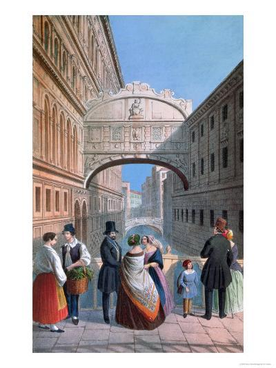 The Bridge of Sighs, Venice, Engraved by Brizeghel-Marco Moro-Giclee Print