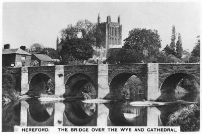 The Bridge over the Wye and Cathedral, Hereford, 1936--Giclee Print
