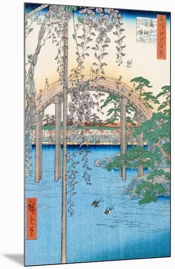 "The Bridge with Wisteria or Kameido Tenjin Keidai, Plate 57 from ""100 Views of Edo,"" 1856-Ando Hiroshige-Mounted Giclee Print"