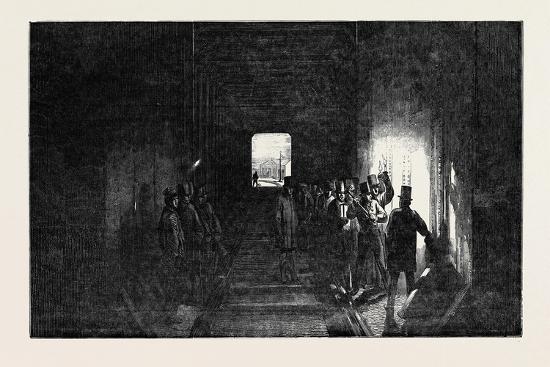 The Britannia Tubular Bridge: Interior of the Tube, Mr. Stephenson Driving the Last Rivet--Giclee Print