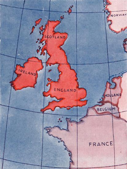 'The British Isles and France, Belgium and Holland at Noon in mid-summer', 1935-Unknown-Giclee Print