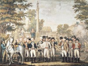 The British Surrendering to General Washington (1732-99) after Their Defeat at Yorktown, Virginia