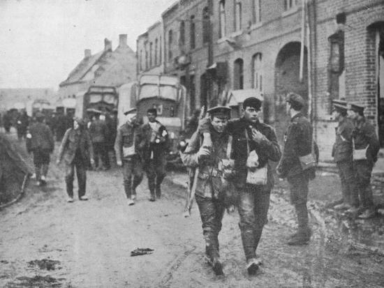 'The British wounded returning to a dressing station after an attack', 1915-Unknown-Photographic Print