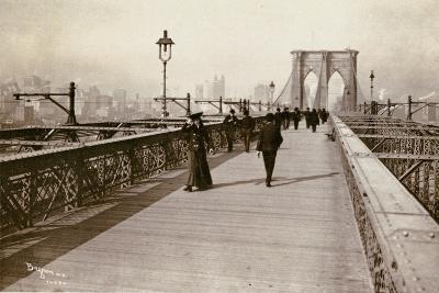 The Brooklyn Bridge Promenade, Looking Towards Manhattan, 1903-Joseph Byron-Giclee Print