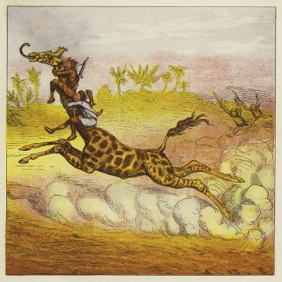 The Brothers Bold Escape the Gorillas by Riding a Giraffe-Ernest Henry Griset-Giclee Print