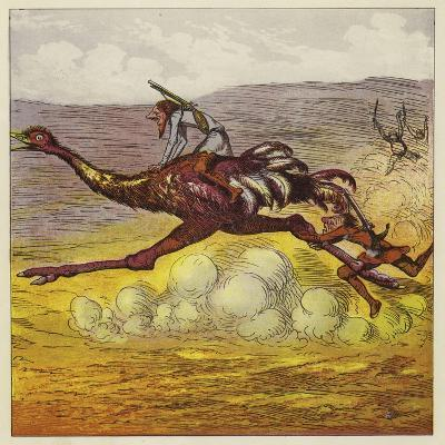 The Brothers Bold Escape the Gorillas by Riding an Ostrich-Ernest Henry Griset-Giclee Print