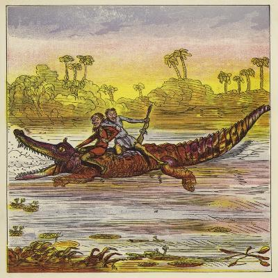 The Brothers Bold Travelling on the Nile by Crocodile-Ernest Henry Griset-Giclee Print