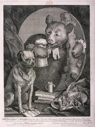 The Bruiser, C. Churchill ... in the Character of a Russian Hercules ..., 1763-William Hogarth-Giclee Print