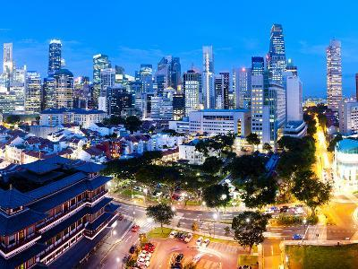 The Buddha Tooth Relic Temple and Central Business District (Cbd), Chinatown, Singapore-Matthew Williams-Ellis-Photographic Print