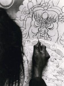 The Buddhist Wheel of Life Hand-Drawn by a Tibetan Painter, Gyantse, Tibet