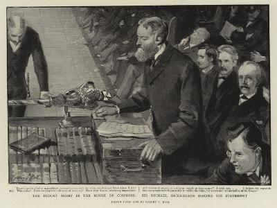 The Budget Night in the House of Commons, Sir Michael Hicks-Beach Making His Statement-Sydney Prior Hall-Giclee Print