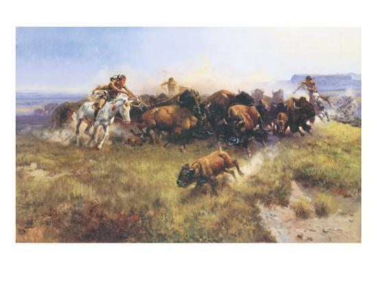 The Buffalo Hunt No. 39-Charles Marion Russell-Premium Giclee Print