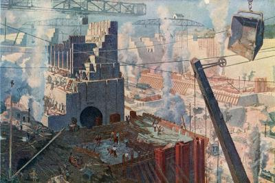 The Building of the Panama Canal, 1912--Giclee Print