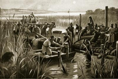 The Building of William's Causeway at Ely--Giclee Print