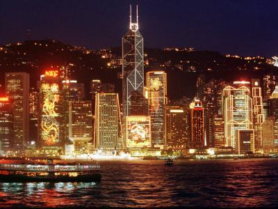 The Buildings are Lit up for the Handover Celebrations, Hong Kong 26, June 1997--Photographic Print