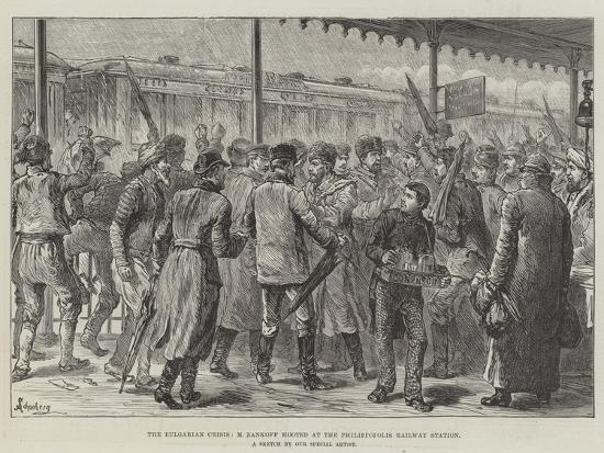 The Bulgarian Crisis, M Zankoff Hooted at the Philippopolis Railway Station-Johann Nepomuk Schonberg-Giclee Print