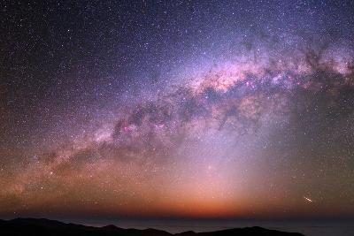 The Bulge of the Milky Way, Blue Zodiacal Light, and a Satellite Flare over the Atacama and Pacific-Babak Tafreshi-Photographic Print