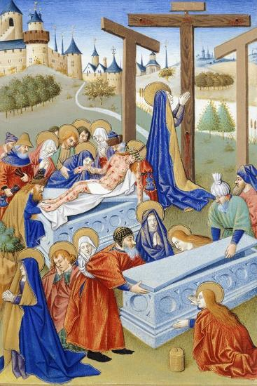 The Burial, Miniature from Book of Prayers by Jeanne De Laval, Manuscript--Giclee Print