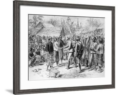 The Burmah Expedition: General Prendergast's Interview with the Officers and Remnant of the Burmese--Framed Giclee Print