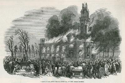 The Burning of St Anne's Church in Limehouse--Giclee Print