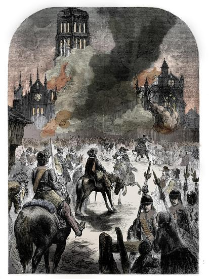 The burning of St Paul's Cathedral during the Great Fire of London, c1902-Unknown-Giclee Print