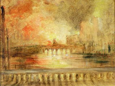 The Burning of the Houses of Parliament, Previously Attributed to J.M.W. Turner (1775-1851)-English-Giclee Print