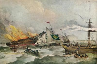The Burning of the Ocean Monarch, c1848-Francois d'Orleans, Prince de Joinville-Giclee Print