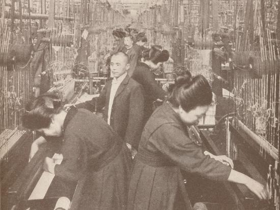 The busy interior of a flourishing silk factory in Japan, 1907-Unknown-Photographic Print