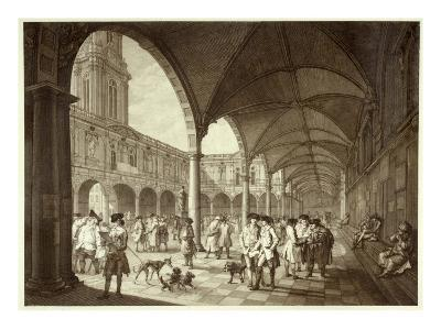 The Busy Royal Exchange Court Yard Full of Men of Business and their Dogs--Giclee Print