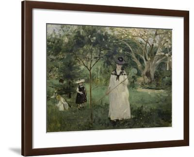The Butterfly Hunt (The Artist's Sister with Her Children), 1874-Berthe Morisot-Framed Giclee Print