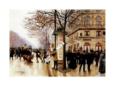 The Cab Accident-Jean Beraud-Giclee Print