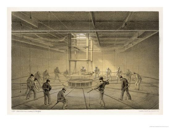 """The Cable Passes out from the Hold of the """"Great Eastern"""" onto the Deck-Robert Dudley-Giclee Print"""