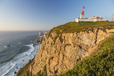 The Cabo Da Roca Lighthouse Overlooks the Promontory Towards the Atlantic Ocean at Sunset, Sintra-Roberto Moiola-Photographic Print