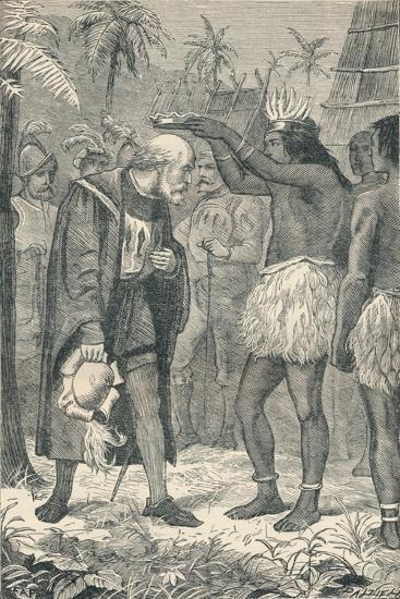 The Cacique Placing a Crown Upon the Head of Columbus, 1904--Giclee Print