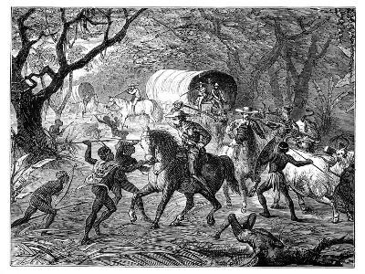 The Caffre War: Natives Attacking a Convoy, 19th Century--Giclee Print