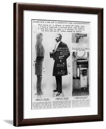 The Caillaux Affair: the Browning Bought by Mrs Joseph Caillaux, and Her Test Shots--Framed Photographic Print