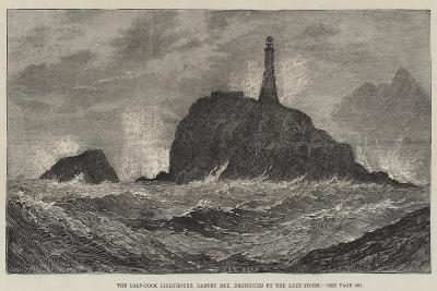 The Calf-Rock Lighthouse, Bantry Bay, Destroyed by the Late Storm-Sir John Gilbert-Giclee Print
