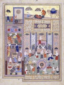 The Caliph Harun Al-Rashid at the Baths, C. 1584-5 (Gouache with Gold Paint on Paper)
