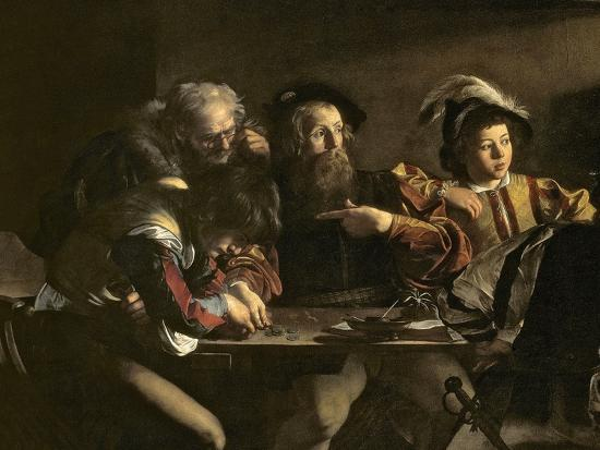The Calling of St. Matthew, C.1598-1601-Caravaggio-Giclee Print