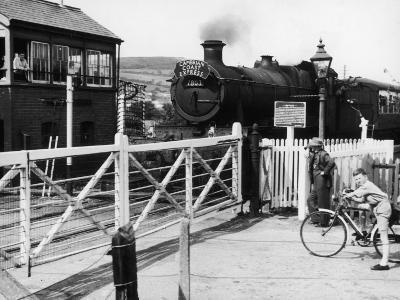 The Cambrian Coast Express Steam Locomotive Train at Llanbadarn Crossing Near Aberystwyth Wales--Photographic Print