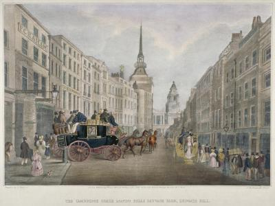 The Cambridge Coach Leaving the Nelson Inn, Belle Sauvage Yard, Ludgate Hill, London, 1818-Charles Joseph Hullmandel-Giclee Print