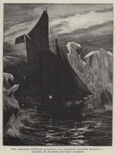 The Canadian Fisheries Question, an American Poacher Evading a Cruiser by Running Between Icebergs--Giclee Print