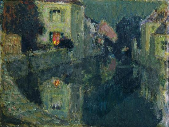 The Canal at Night-Henri Eugene Augustin Le Sidaner-Giclee Print